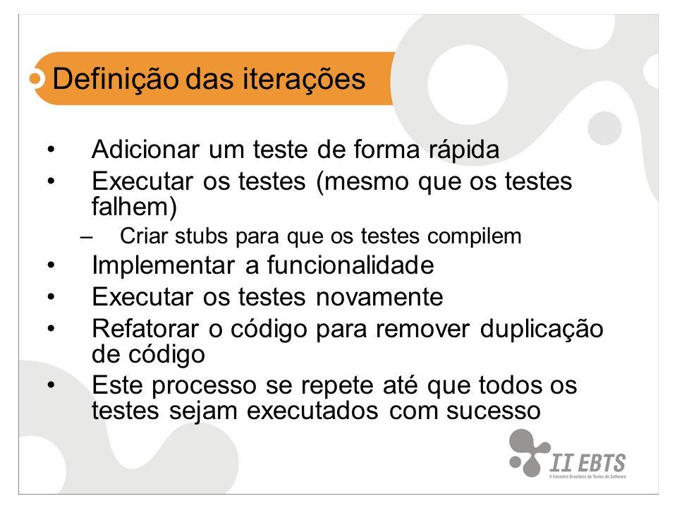 Definição das iterações Adicionar um teste de forma rápida Executar os testes (mesmo que os testes falhem) –Criar stubs para que os testes compilem Im