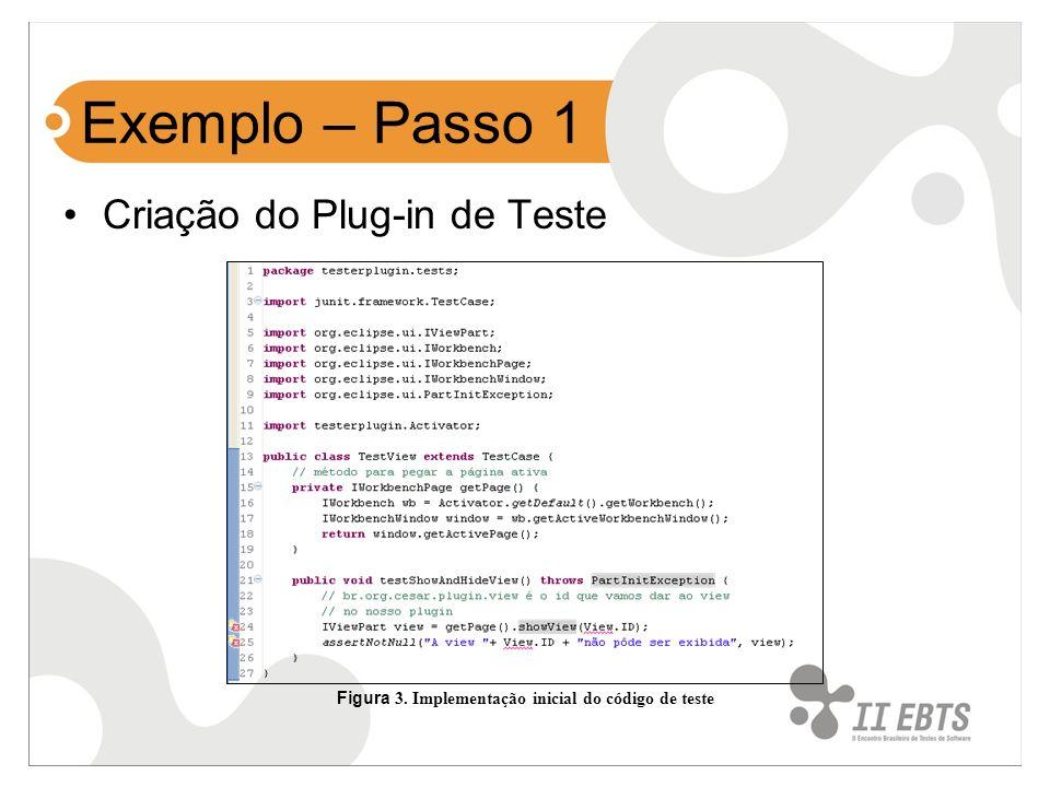 Exemplo – Passo 1 Criação do Plug-in de Teste Figura 3. Implementação inicial do código de teste