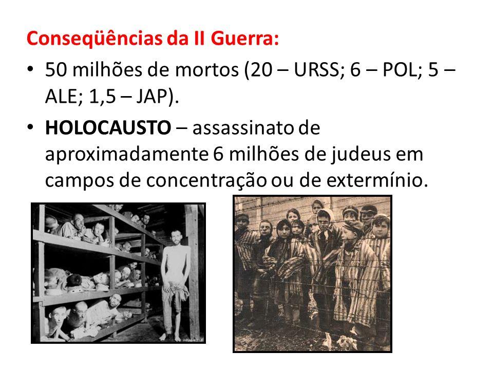 Conseqüências da II Guerra: 50 milhões de mortos (20 – URSS; 6 – POL; 5 – ALE; 1,5 – JAP). HOLOCAUSTO – assassinato de aproximadamente 6 milhões de ju