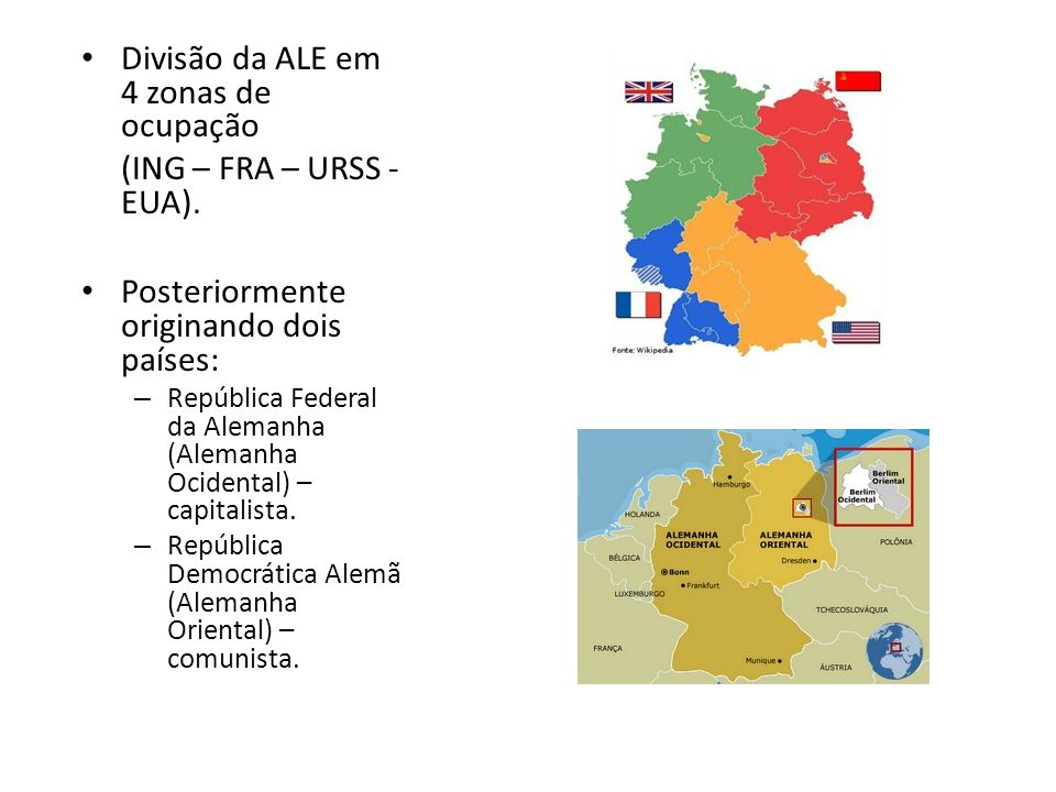Divisão da ALE em 4 zonas de ocupação (ING – FRA – URSS - EUA). Posteriormente originando dois países: – República Federal da Alemanha (Alemanha Ocide