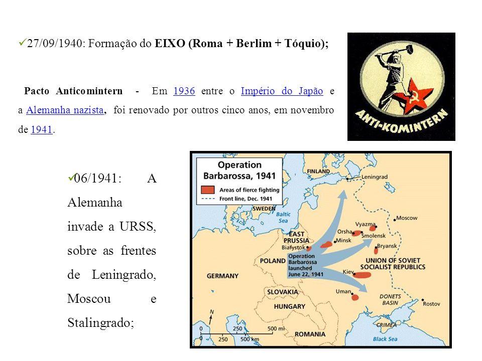 27/09/1940: Formação do EIXO (Roma + Berlim + Tóquio); Pacto Anticomintern - Em 1936 entre o Império do Japão e a Alemanha nazista, foi renovado por o