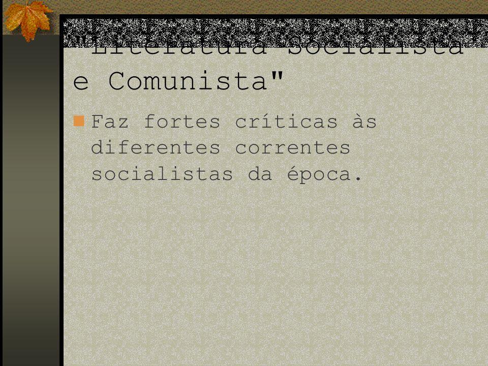 O Manifesto corta com a afiada faca da ironia três tipos de socialismo da época: o socialismo reacionário (subdividido em socialismo feudal, socialismo pequeno-burguês e socialismo alemão, o socialismo conservador e burguês e o socialismo e comunismo crítico-utópico .