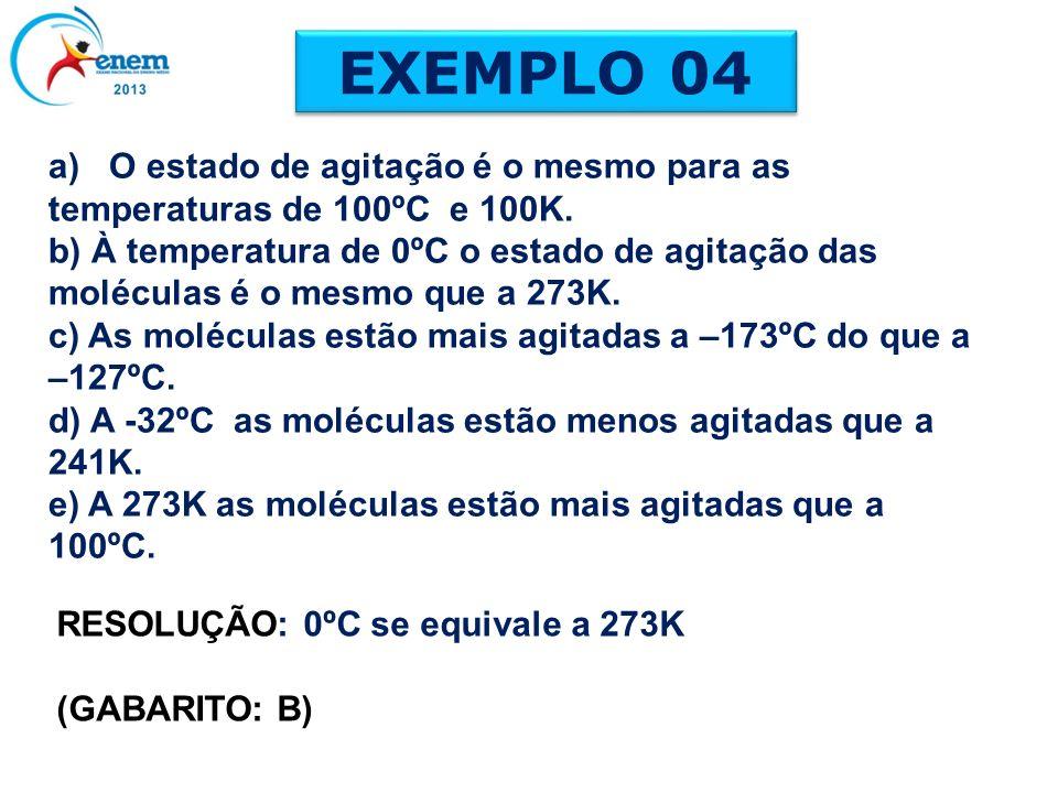 a) O estado de agitação é o mesmo para as temperaturas de 100ºC e 100K. b) À temperatura de 0ºC o estado de agitação das moléculas é o mesmo que a 273