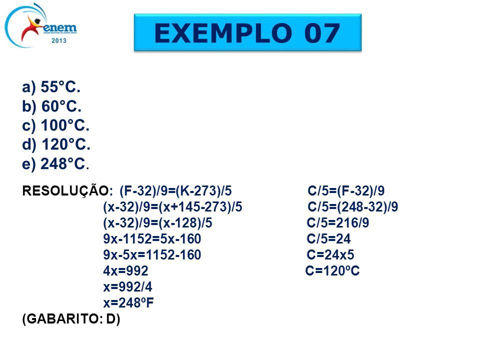 EXEMPLO 07 a) 55°C. b) 60°C. c) 100°C. d) 120°C. e) 248°C. RESOLUÇÃO: (F-32)/9=(K-273)/5 C/5=(F-32)/9 (x-32)/9=(x+145-273)/5 C/5=(248-32)/9 (x-32)/9=(