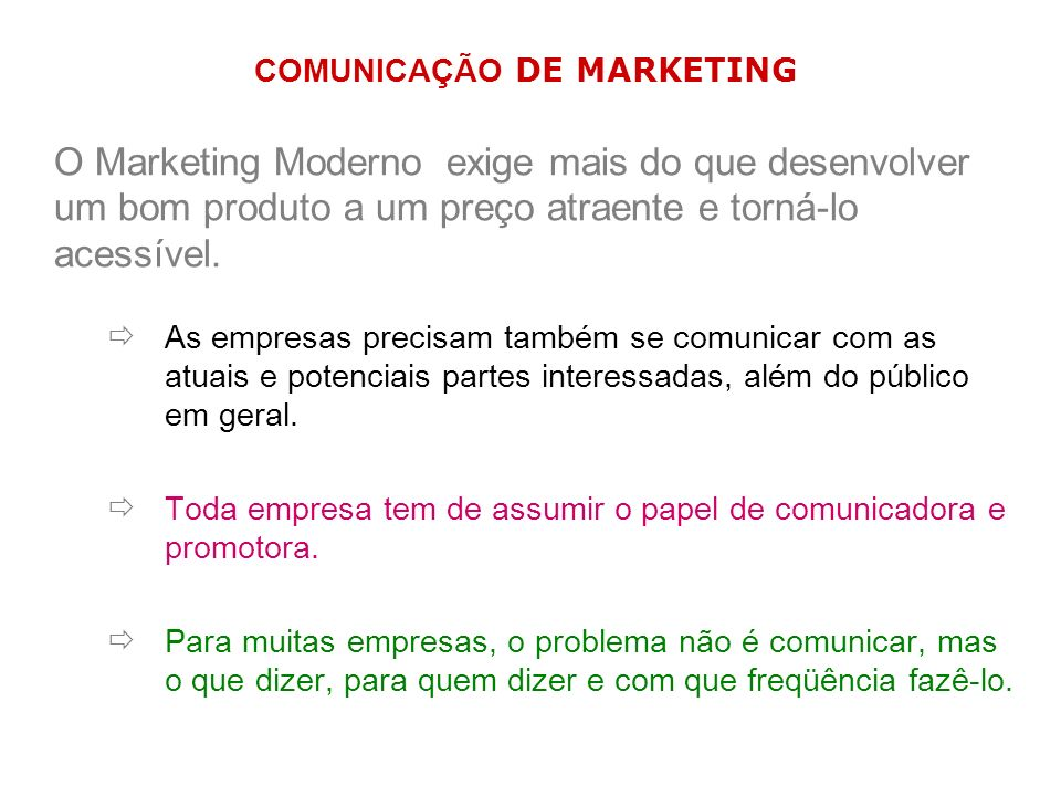 O Marketing Moderno exige mais do que desenvolver um bom produto a um preço atraente e torná-lo acessível. As empresas precisam também se comunicar co