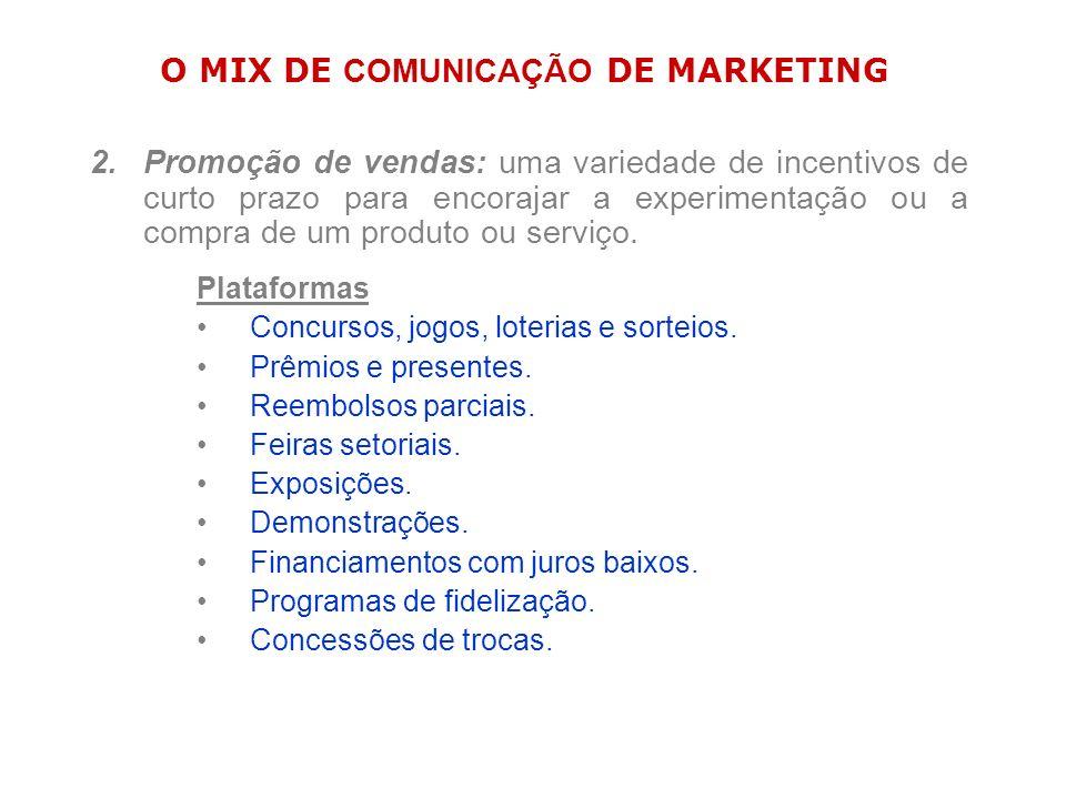 O MIX DE COMUNICAÇÃO DE MARKETING 2.Promoção de vendas: uma variedade de incentivos de curto prazo para encorajar a experimentação ou a compra de um p