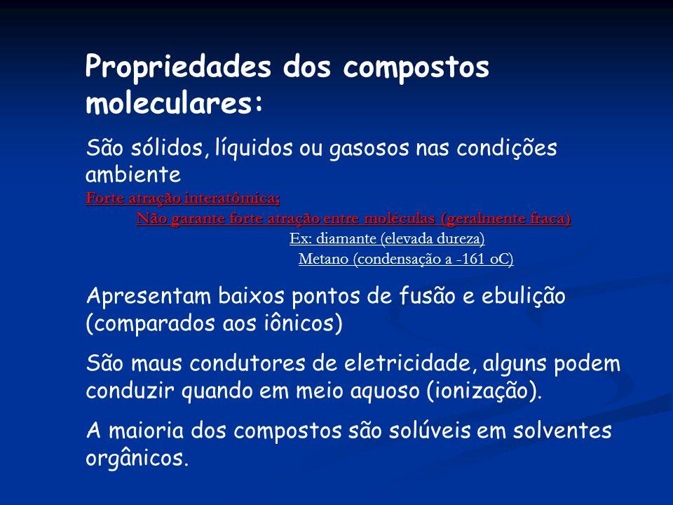 Propriedades dos compostos moleculares: São sólidos, líquidos ou gasosos nas condições ambiente Forte atração interatômica; Não garante forte atração entre moléculas (geralmente fraca) Ex: diamante (elevada dureza) Metano (condensação a -161 oC) Apresentam baixos pontos de fusão e ebulição (comparados aos iônicos) São maus condutores de eletricidade, alguns podem conduzir quando em meio aquoso (ionização).