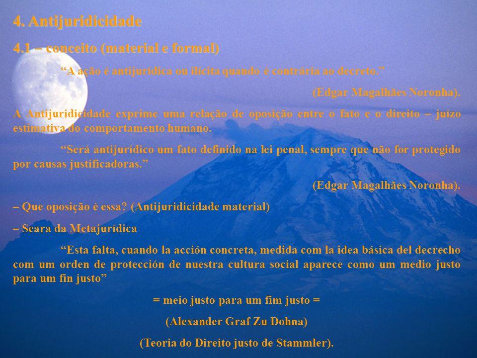 4. Antijuridicidade 4.1 – conceito (material e formal) A ação é antijurídica ou ilícita quando é contrária ao decreto. (Edgar Magalhães Noronha). A An