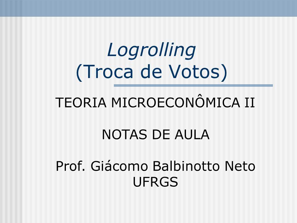 Logrolling (Troca de Votos) TEORIA MICROECONÔMICA II NOTAS DE AULA Prof.