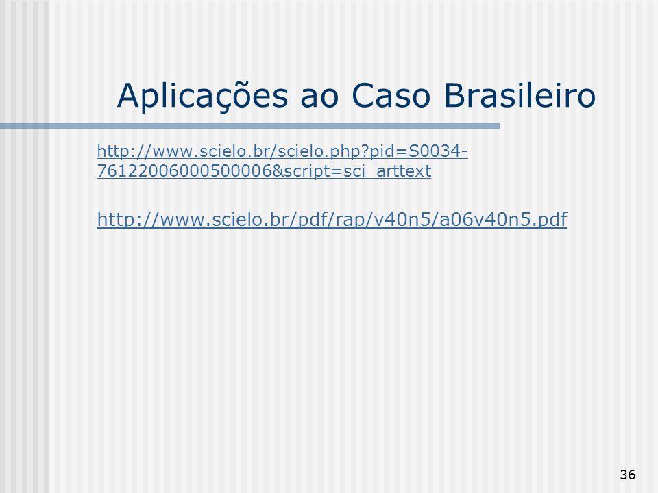 36 Aplicações ao Caso Brasileiro http://www.scielo.br/scielo.php pid=S0034- 76122006000500006&script=sci_arttext http://www.scielo.br/pdf/rap/v40n5/a06v40n5.pdf