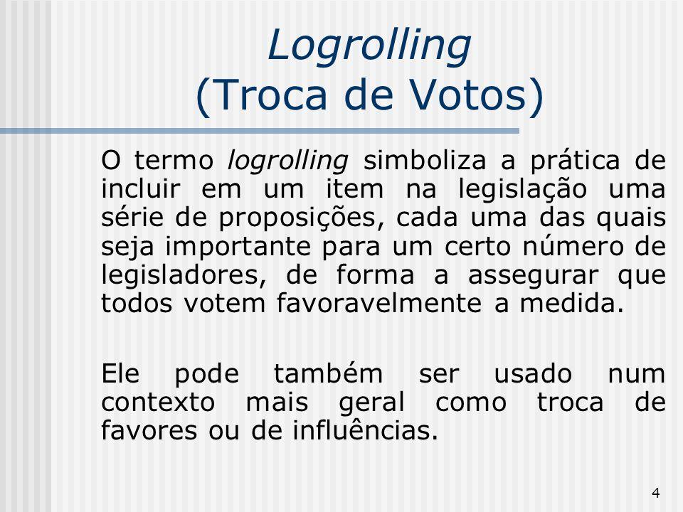 4 Logrolling (Troca de Votos) O termo logrolling simboliza a prática de incluir em um item na legislação uma série de proposições, cada uma das quais seja importante para um certo número de legisladores, de forma a assegurar que todos votem favoravelmente a medida.