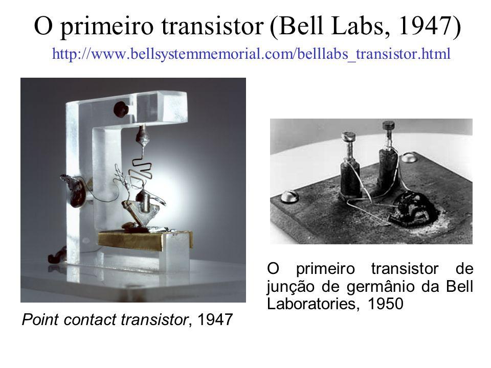 O primeiro transistor (Bell Labs, 1947) http://www.bellsystemmemorial.com/belllabs_transistor.html Point contact transistor, 1947 O primeiro transisto
