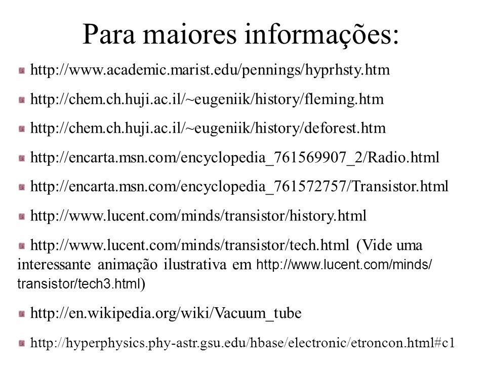 Para maiores informações: http://www.academic.marist.edu/pennings/hyprhsty.htm http://chem.ch.huji.ac.il/~eugeniik/history/fleming.htm http://chem.ch.