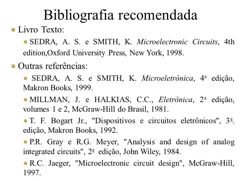 Bibliografia recomendada Livro Texto: SEDRA, A. S. e SMITH, K. Microelectronic Circuits, 4th edition,Oxford University Press, New York, 1998. Outras r