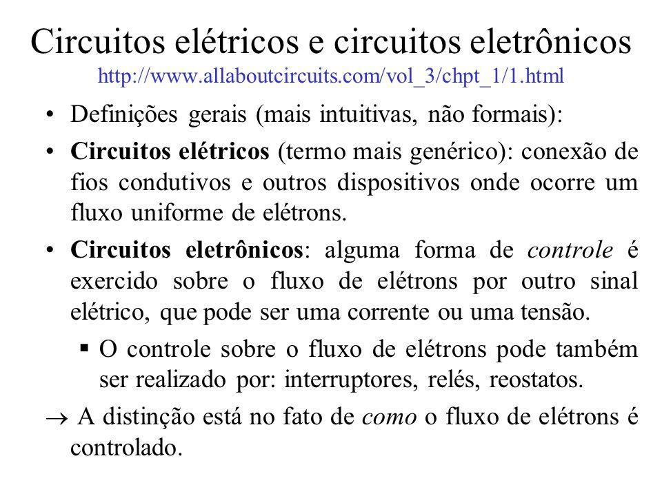 Circuitos elétricos e circuitos eletrônicos http://www.allaboutcircuits.com/vol_3/chpt_1/1.html Definições gerais (mais intuitivas, não formais): Circ