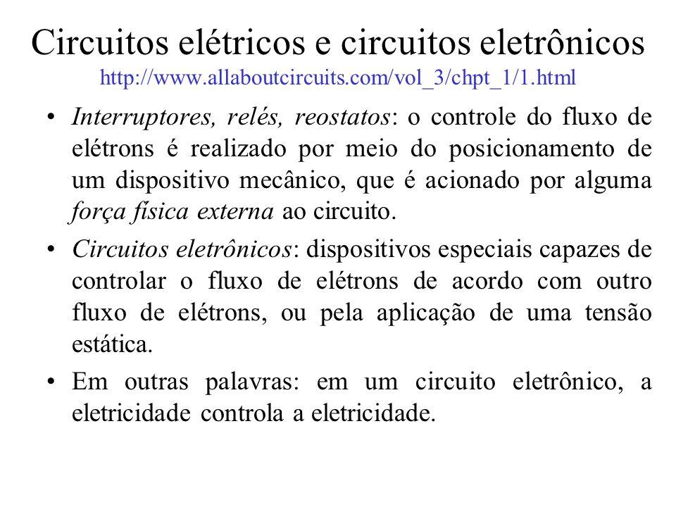 Circuitos elétricos e circuitos eletrônicos http://www.allaboutcircuits.com/vol_3/chpt_1/1.html Interruptores, relés, reostatos: o controle do fluxo d