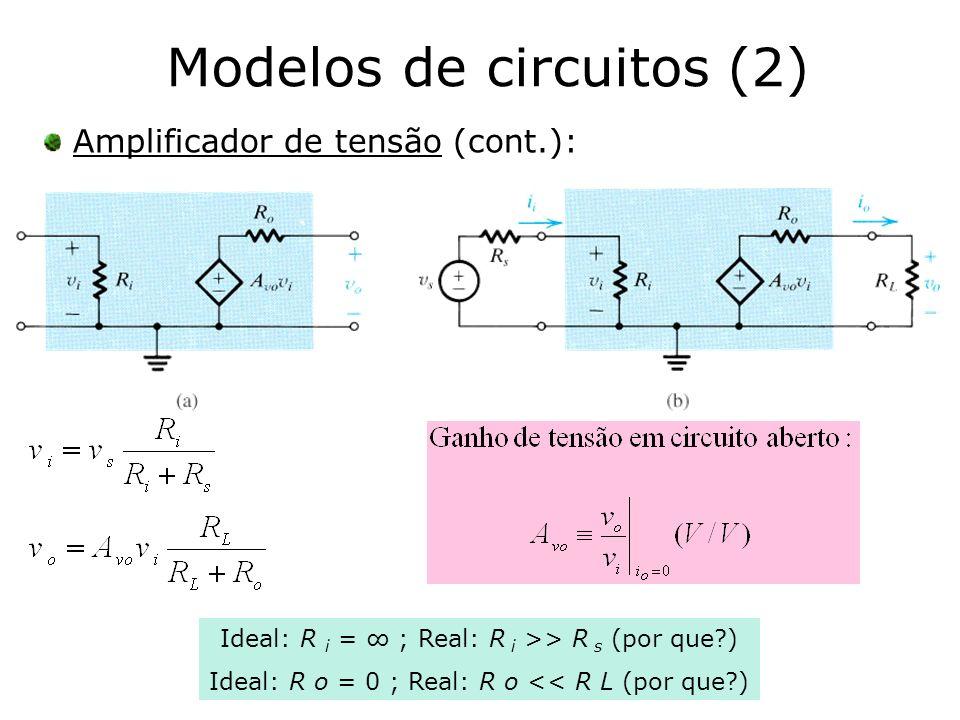 Modelos de circuitos (2) Amplificador de tensão (cont.): Ideal: R i = ; Real: R i >> R s (por que?) Ideal: R o = 0 ; Real: R o << R L (por que?)