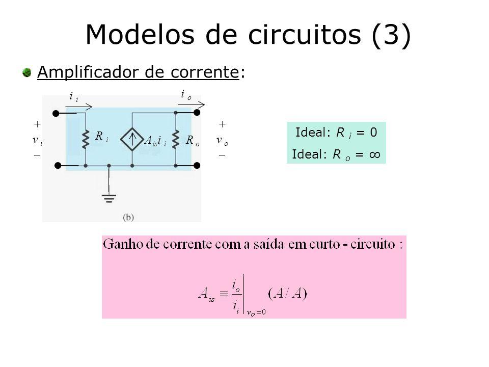 Modelos de circuitos (3) Amplificador de corrente: i R i A is i i R o + v o – + v i – i o Ideal: R i = 0 Ideal: R o =