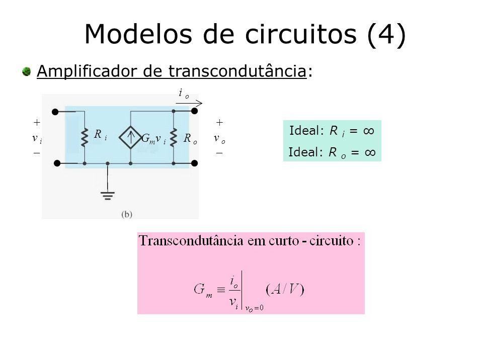Modelos de circuitos (4) Amplificador de transcondutância: R i G m v i R o + v o – + v i – i o Ideal: R i = Ideal: R o =