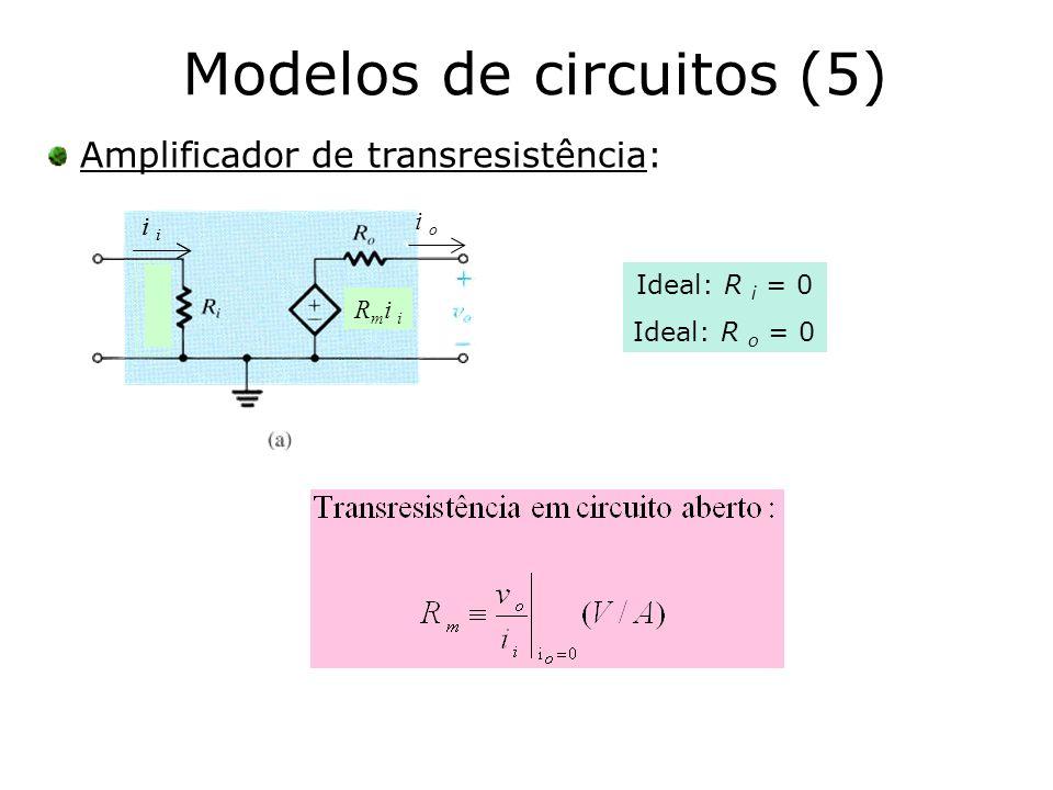 Modelos de circuitos (5) Amplificador de transresistência: Ideal: R i = 0 Ideal: R o = 0 R m i i i i o