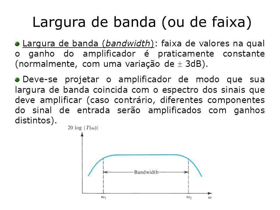 Largura de banda (ou de faixa) Largura de banda (bandwidth): faixa de valores na qual o ganho do amplificador é praticamente constante (normalmente, c