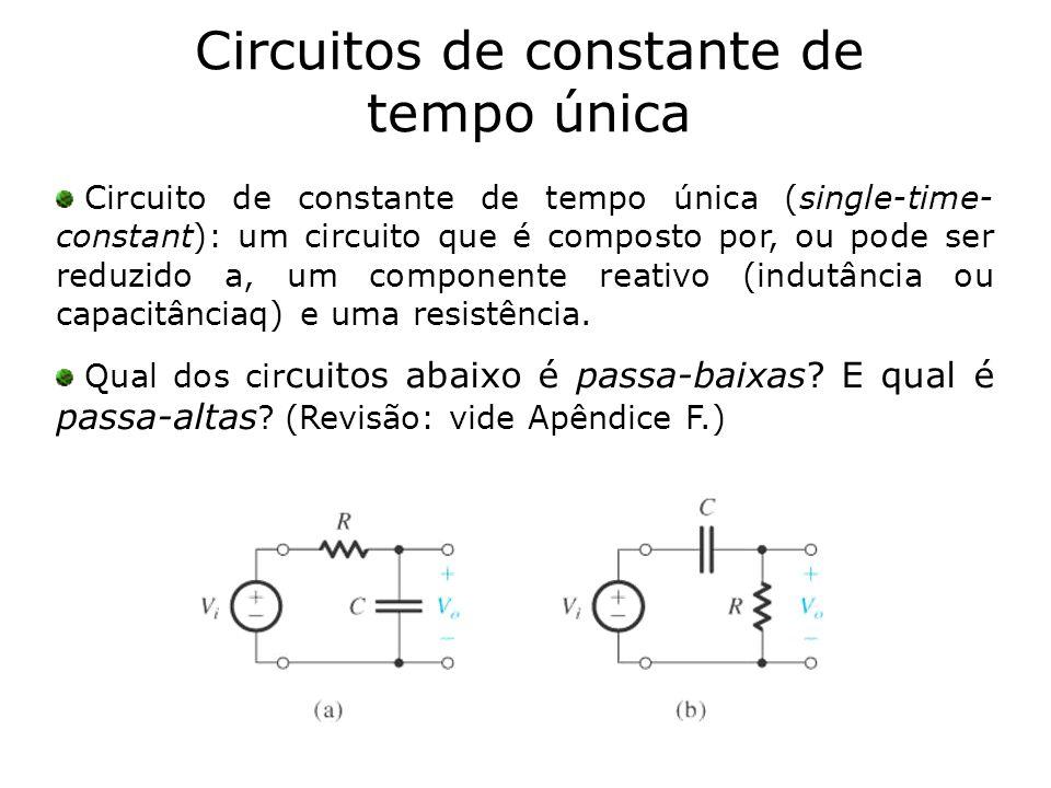 Circuitos de constante de tempo única Circuito de constante de tempo única (single-time- constant): um circuito que é composto por, ou pode ser reduzi