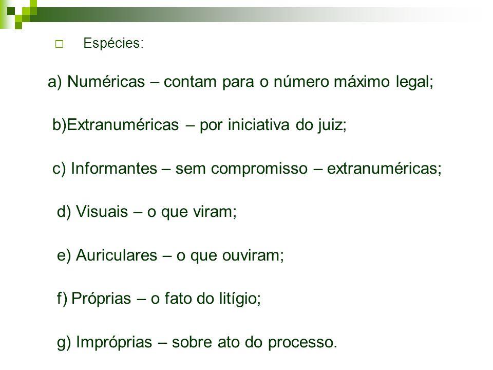 Espécies: a) Numéricas – contam para o número máximo legal; b)Extranuméricas – por iniciativa do juiz; c) Informantes – sem compromisso – extranuméric