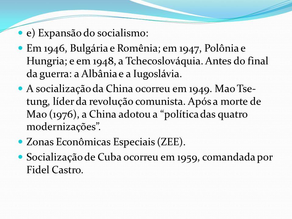 e) Expansão do socialismo: Em 1946, Bulgária e Romênia; em 1947, Polônia e Hungria; e em 1948, a Tchecoslováquia. Antes do final da guerra: a Albânia