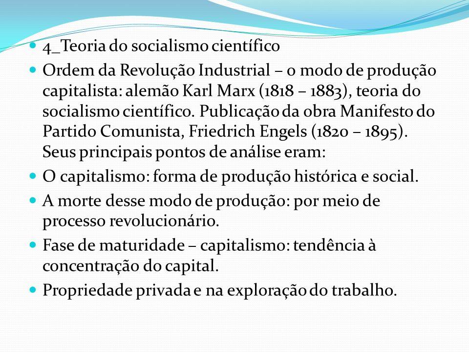 4_Teoria do socialismo científico Ordem da Revolução Industrial – o modo de produção capitalista: alemão Karl Marx (1818 – 1883), teoria do socialismo