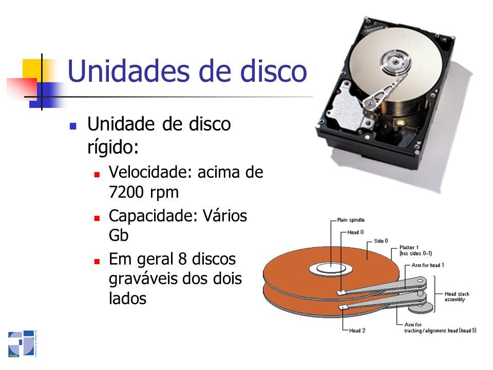 Unidades de disco Unidade de disco rígido: Velocidade: acima de 7200 rpm Capacidade: Vários Gb Em geral 8 discos graváveis dos dois lados