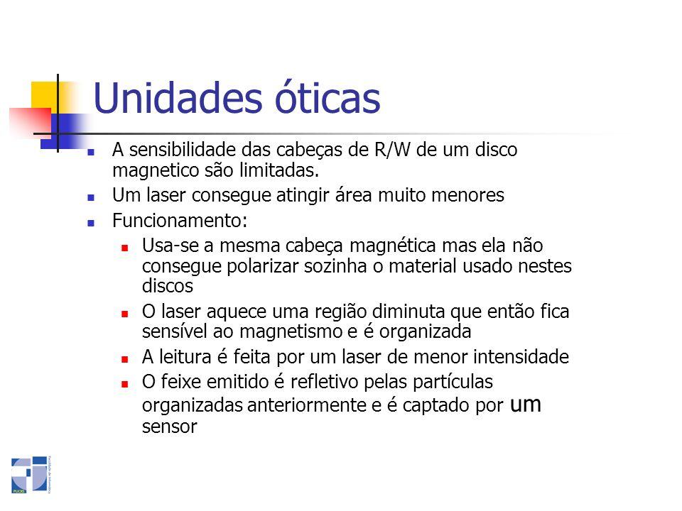 Unidades óticas A sensibilidade das cabeças de R/W de um disco magnetico são limitadas. Um laser consegue atingir área muito menores Funcionamento: Us
