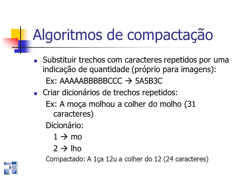 Algoritmos de compactação Substituir trechos com caracteres repetidos por uma indicação de quantidade (próprio para imagens): Ex: AAAAABBBBBCCC 5A5B3C
