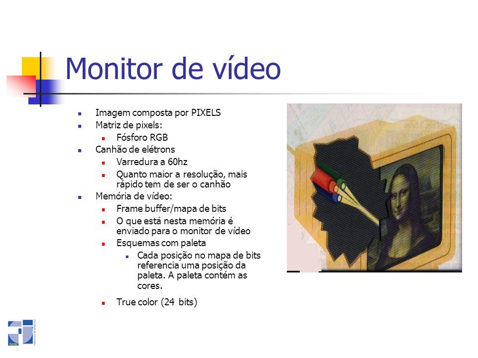 Monitor de vídeo Imagem composta por PIXELS Matriz de pixels: Fósforo RGB Canhão de elétrons Varredura a 60hz Quanto maior a resolução, mais rápido te