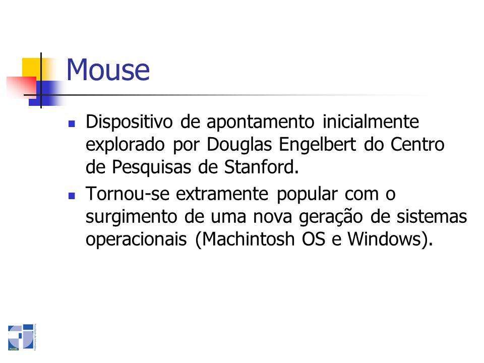 Mouse Dispositivo de apontamento inicialmente explorado por Douglas Engelbert do Centro de Pesquisas de Stanford. Tornou-se extramente popular com o s