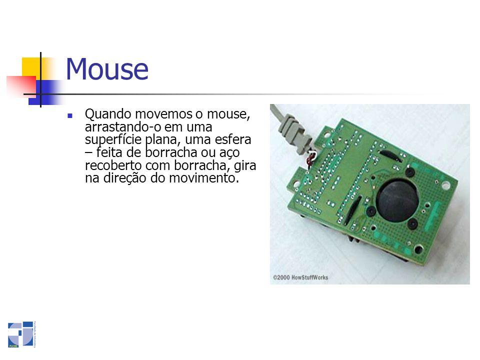 Mouse Quando movemos o mouse, arrastando-o em uma superfície plana, uma esfera – feita de borracha ou aço recoberto com borracha, gira na direção do m