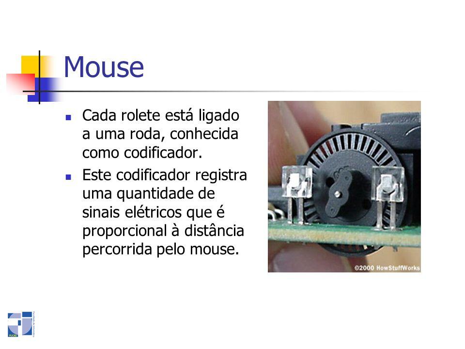 Mouse Cada rolete está ligado a uma roda, conhecida como codificador. Este codificador registra uma quantidade de sinais elétricos que é proporcional