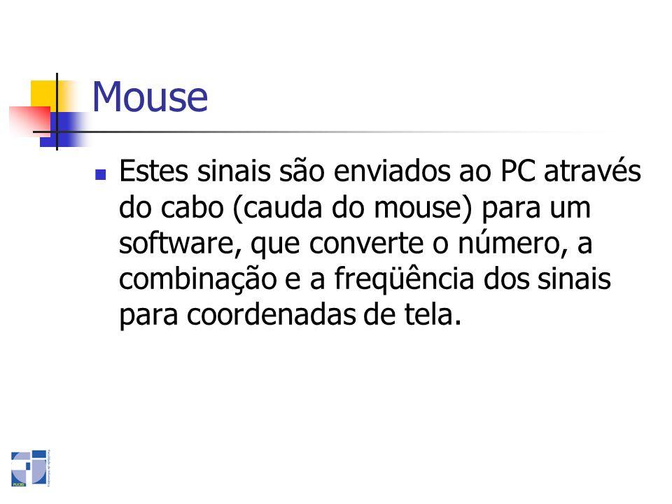 Mouse Estes sinais são enviados ao PC através do cabo (cauda do mouse) para um software, que converte o número, a combinação e a freqüência dos sinais