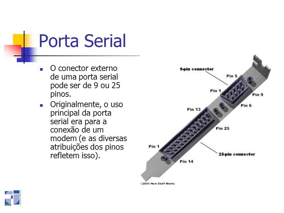 Porta Serial O conector externo de uma porta serial pode ser de 9 ou 25 pinos. Originalmente, o uso principal da porta serial era para a conexão de um