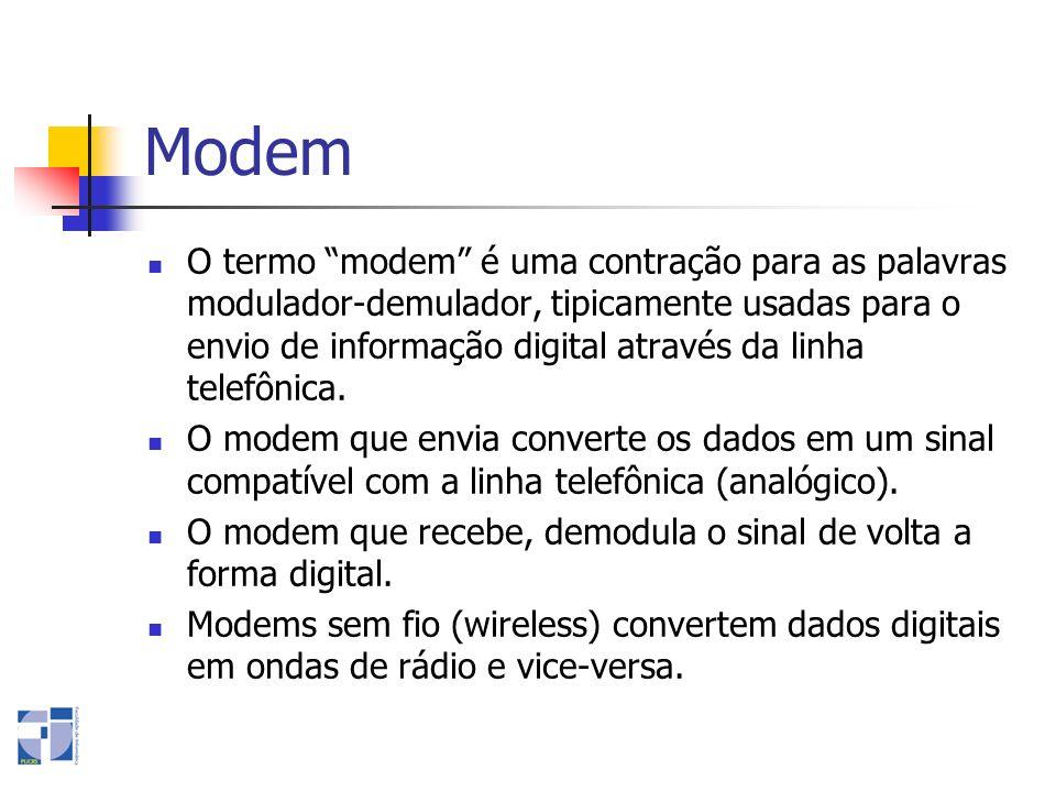 Modem O termo modem é uma contração para as palavras modulador-demulador, tipicamente usadas para o envio de informação digital através da linha telef