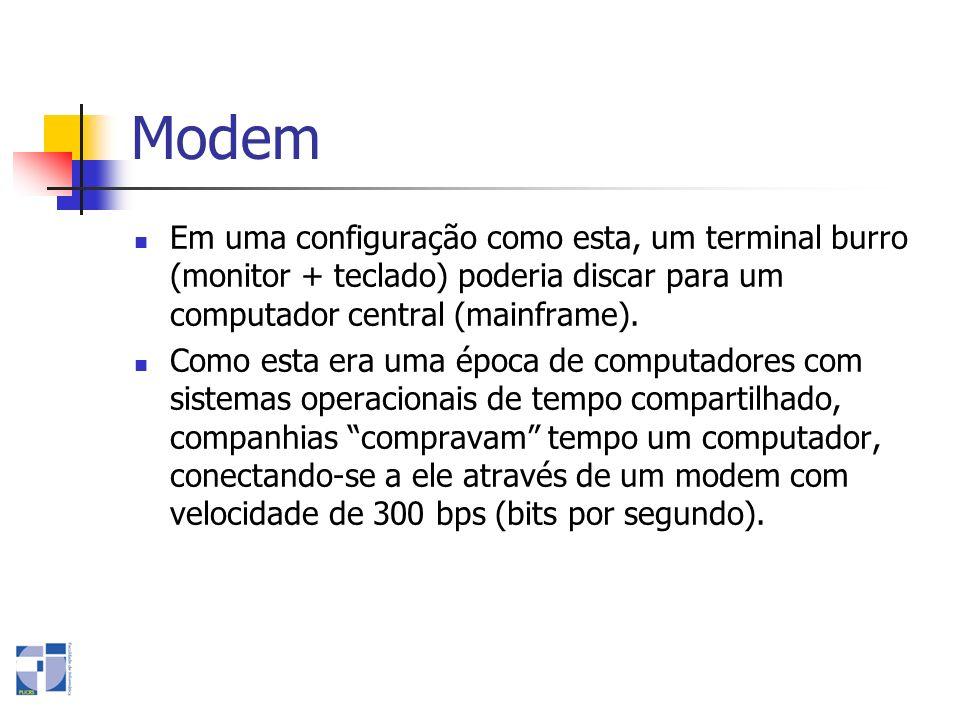 Modem Em uma configuração como esta, um terminal burro (monitor + teclado) poderia discar para um computador central (mainframe). Como esta era uma ép
