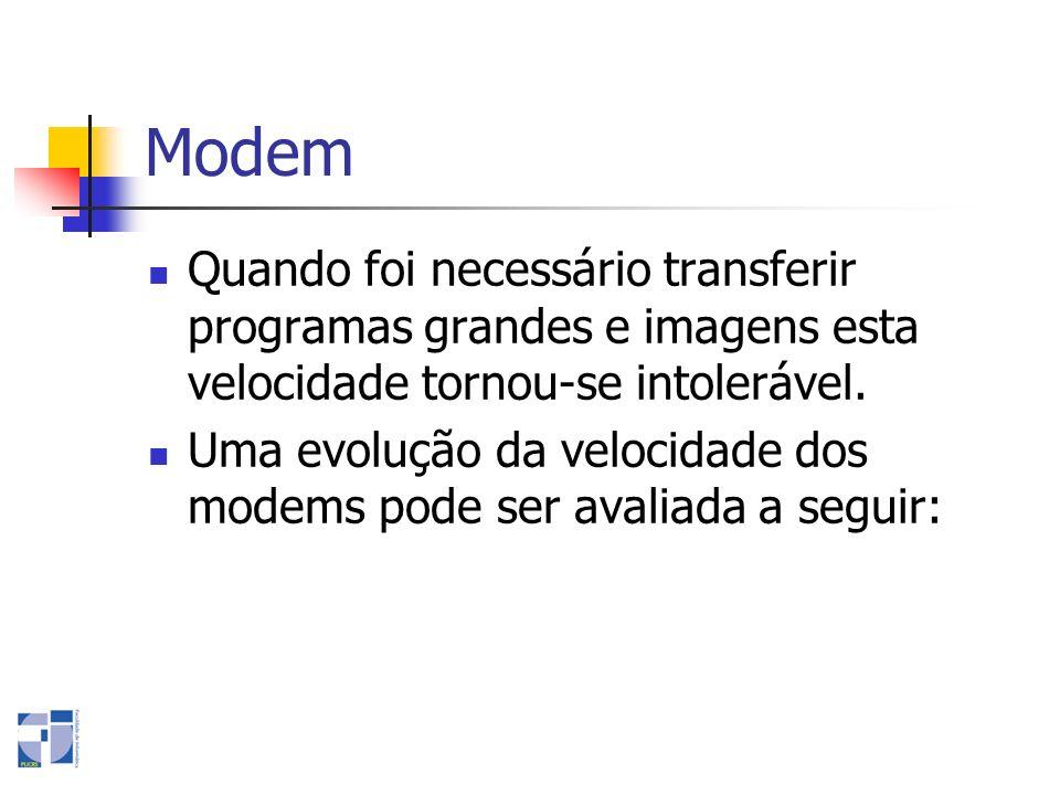 Modem Quando foi necessário transferir programas grandes e imagens esta velocidade tornou-se intolerável. Uma evolução da velocidade dos modems pode s