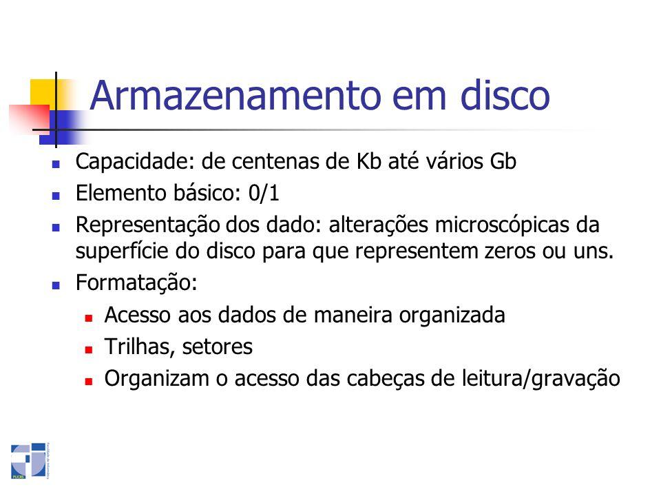 Armazenamento em disco Capacidade: de centenas de Kb até vários Gb Elemento básico: 0/1 Representação dos dado: alterações microscópicas da superfície