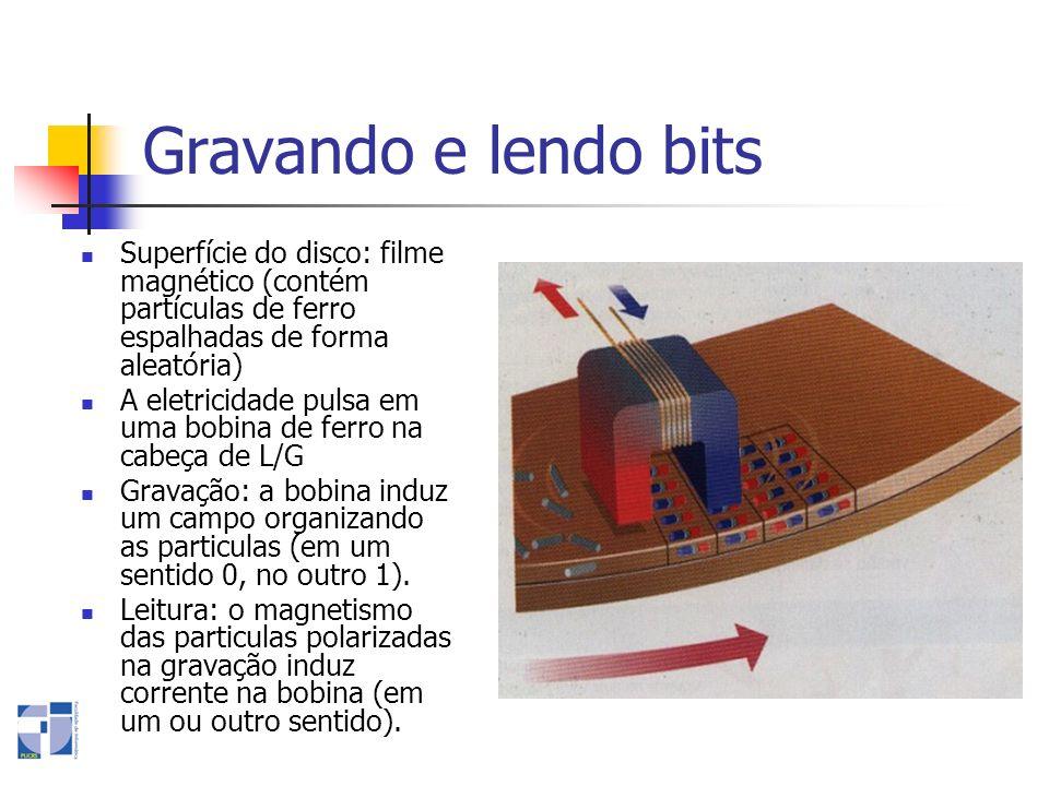 Gravando e lendo bits Superfície do disco: filme magnético (contém partículas de ferro espalhadas de forma aleatória) A eletricidade pulsa em uma bobi