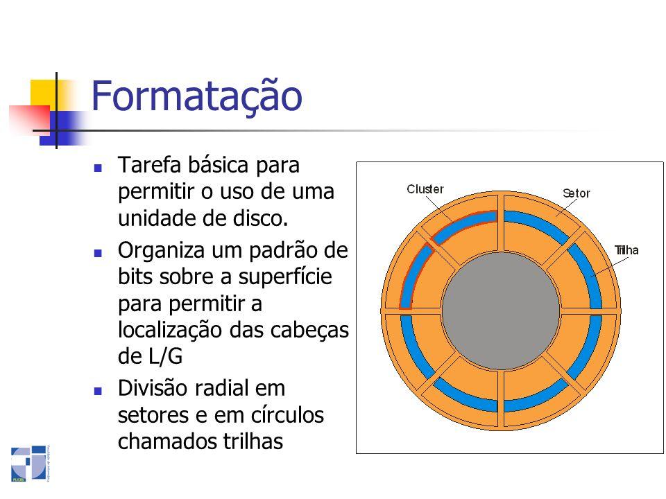 Formatação Tarefa básica para permitir o uso de uma unidade de disco. Organiza um padrão de bits sobre a superfície para permitir a localização das ca