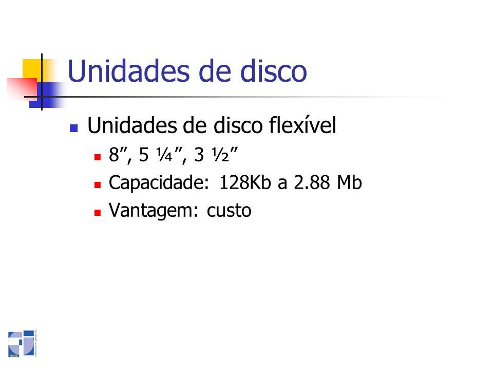 Unidades de disco Unidades de disco flexível 8, 5 ¼, 3 ½ Capacidade: 128Kb a 2.88 Mb Vantagem: custo