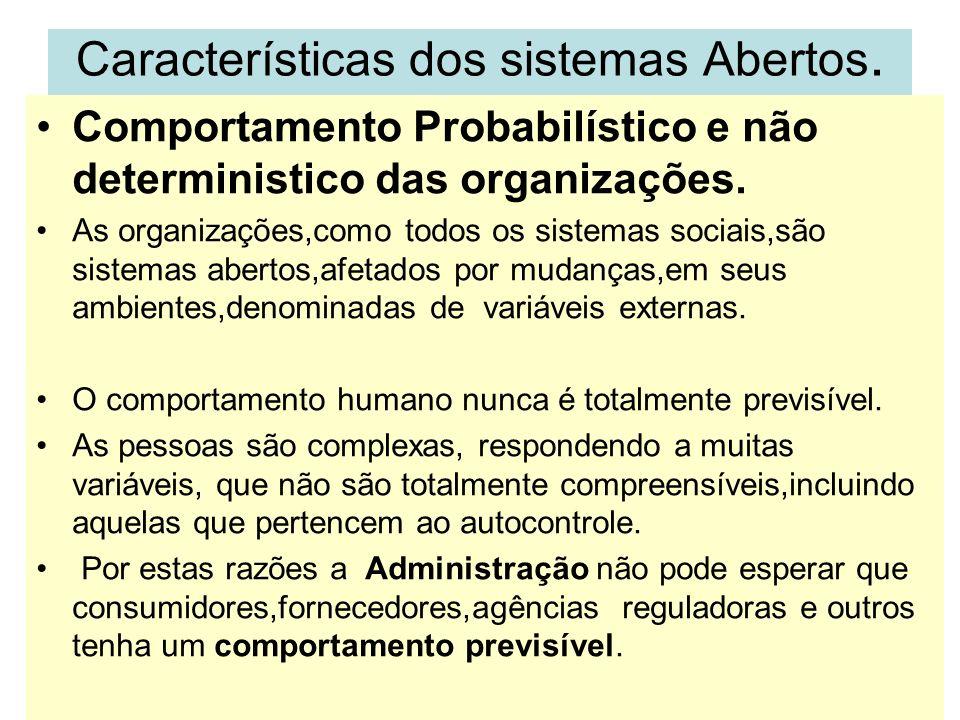 Características dos sistemas Abertos. Comportamento Probabilístico e não deterministico das organizações. As organizações,como todos os sistemas socia