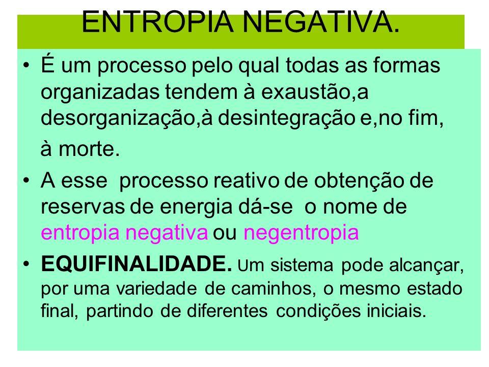 ENTROPIA NEGATIVA. É um processo pelo qual todas as formas organizadas tendem à exaustão,a desorganização,à desintegração e,no fim, à morte. A esse pr