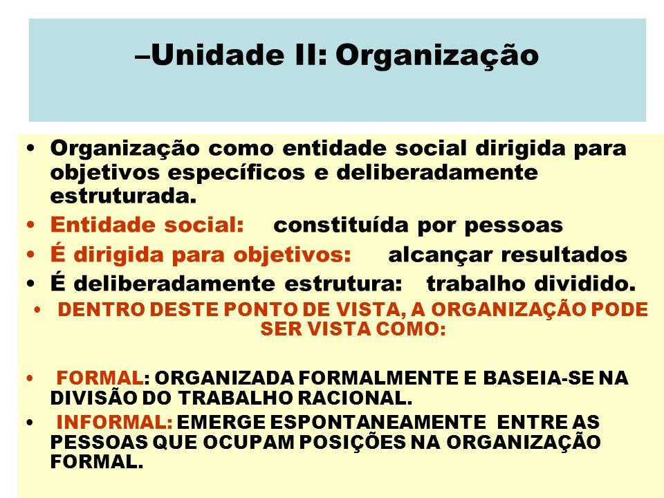 –Unidade II: Organização Organização como entidade social dirigida para objetivos específicos e deliberadamente estruturada. Entidade social: constitu
