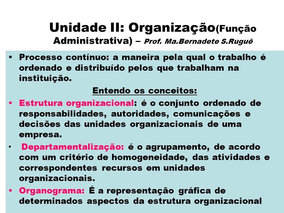 Unidade II: Organização (Função Administrativa) – Prof. Ma.Bernadete S.Ruguê Processo contínuo: a maneira pela qual o trabalho é ordenado e distribuíd
