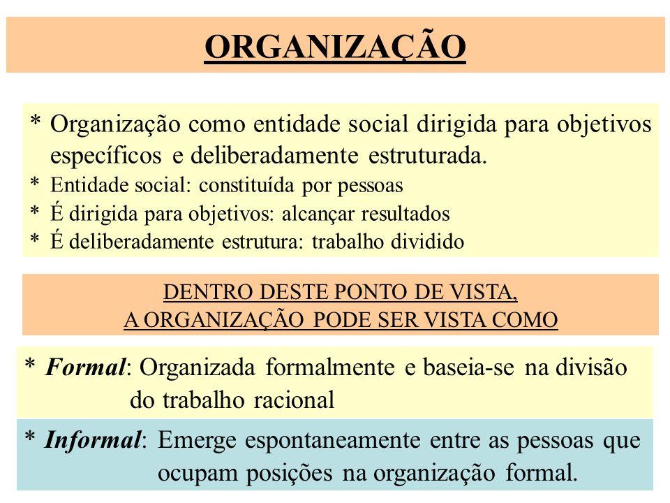 ORGANIZAÇÃO * Organização como entidade social dirigida para objetivos específicos e deliberadamente estruturada. *Entidade social: constituída por pe